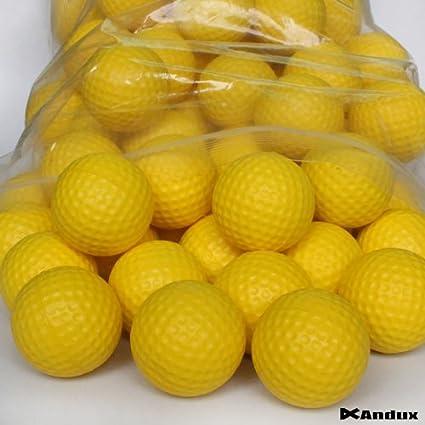 Andux 36pcs Poliuretano espuma Bolas para práctica de golf amarillo PU