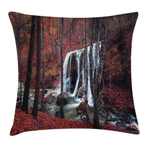 (Ambesonne Apartment Decor Throw Pillow Cushion Cover, Cascade Misty Fall Day Shedding Leaf at Mountains Rocky Creek Habitat Decor, Decorative Square Accent Pillow Case, 18 X 18 inches, Red Brown)