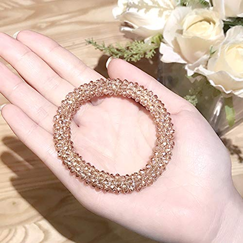 Korea Hair Band Ponytail Holder Elegant Crystal Elastic Hair shengpi tendons Women Gift Personality Diamond Hair Ring Elastic Rope Ponytail Holder Creative Women Girls Bracelet Bangle (Champagne (Sparkling Diamonds Bracelet)