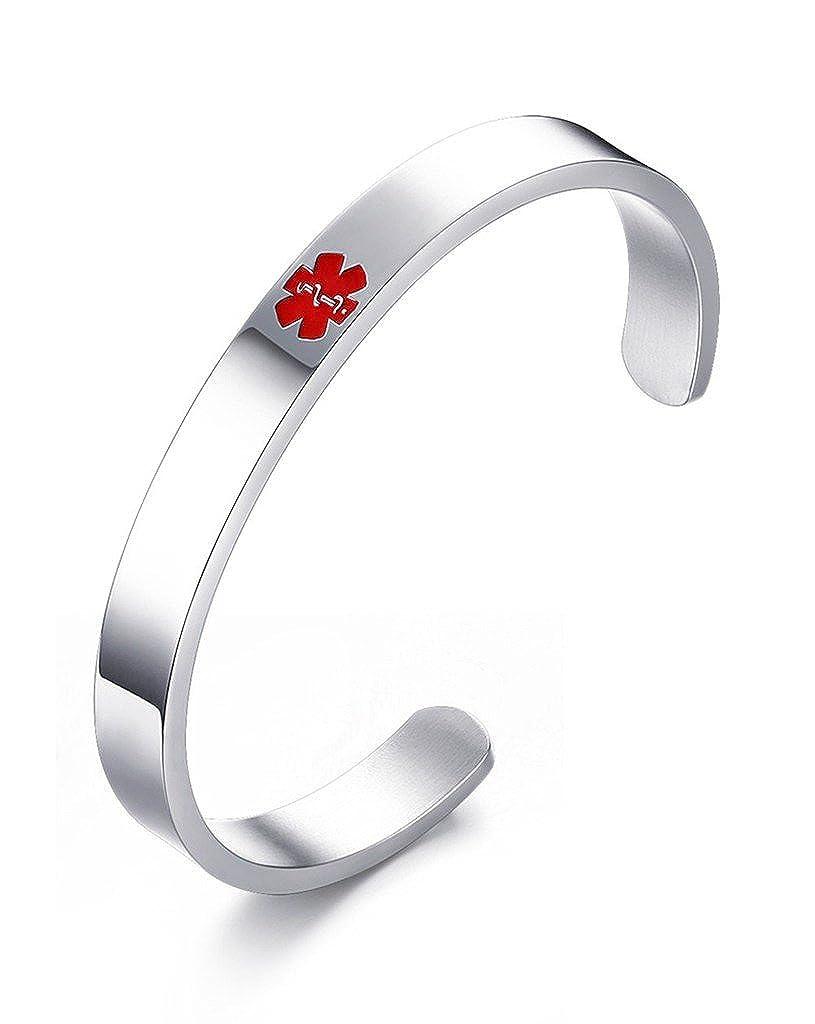 Free Engraving Vnox Stainless Steel Medical Alert Bangle Bracelet,8 8 VNOX Jewelry B-125S