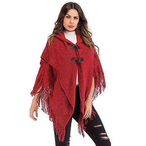 Tassels Women Shawl Knitted Toggle Button Shawl Cape Cardigans Loose Cloak with Hood ()