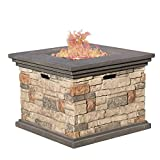 Christopher Knight Home 296587 Deal Furniture | Crawford | Outdoor Square Propane Fire Pit with, Stone Review