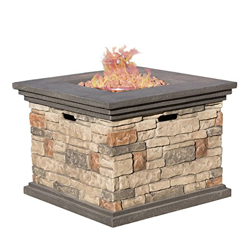 Christopher Knight Home Crawford Outdoor Square Stone Fire Pit Table, 32-Inch Propane Gas Patio Heater with Lava Rocks