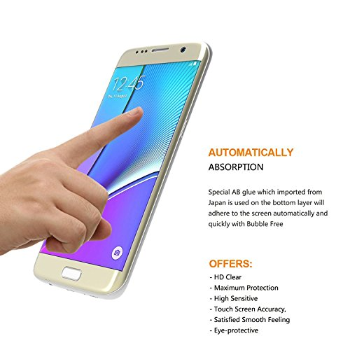 S7 Edge filter Protector Asstar Premium Mirror Tempered wine glass Cell contact look 3D filter Protector especially Thin HD very clear wine glass filter Protector for Samsung Galaxy S7 Edge 55 inch Gold wise Watch Accessories