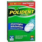 Polident Overnight Whitening, Antibacterial Denture Cleanser, Bonus Pack, Triple Mint Freshness 84 ea by AB