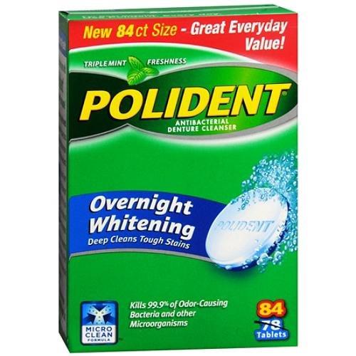 - Polident Overnight Whitening, Antibacterial Denture Cleanser, Bonus Pack, Triple Mint Freshness 84 ea (Pack of 2)