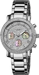 Akribos XXIV Women's AKR440SS2 Grandiose Dazzling Diamond Chronograph Stainelss Steel Bracelet Watch