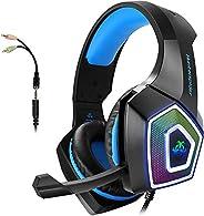 ARKARTECH Audífonos Gamer con Micrófono para PS4 Xbox One PC Switch, Auriculares Alámbrico y 7 Luz LED Control