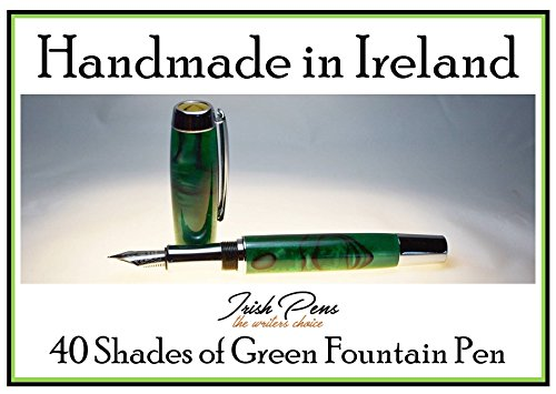 Fountain Pen in Emerald Green, handmade in Cavan Ireland, 40 shades of green in this pen, a great gift from Ireland, put a smile on your face every time it's - Puts On Shades