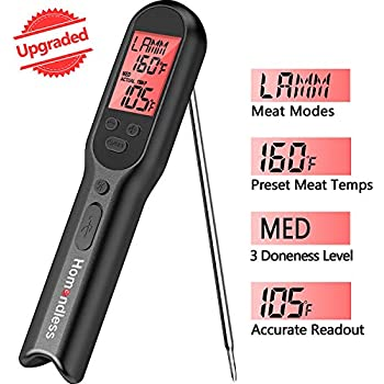 Meat Thermometer with Rechargeable Battery, Digital Kitchen Food Cooking Thermometer Accurate for Candy Oil BBQ Grill Smoker, Built-in Food Temperature Guide, Alarm, LCD Backlight, IPX7 Waterproof