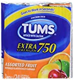 Health & Personal Care : TUMS Extra Strength Assorted Fruit Antacid Chewable Tablets for Heartburn Relief, 3 rolls of 8ct