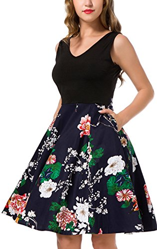Stretch Bodice - Women's Casual Flare Floral Dresses V Neck Sleeveless Party Mini Dress Navy L