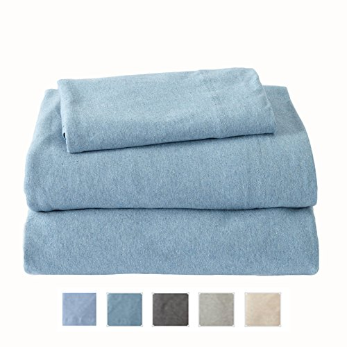 Extra Soft Heather Jersey Knit (T-Shirt) Cotton Sheet Set. Soft, Comfortable, Cozy All-Season Bed Sheets. Carmen Collection By Great Bay Home Brand. (Queen, Ocean Blue)
