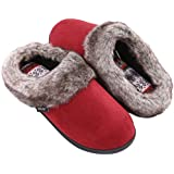 Women's Furry Memory Foam Slippers Micro Suede Faux Fur House Shoes with Yarn Knit Lining & Non Skid Sole (Medium / 7-8 B(M) US, Burgundy)