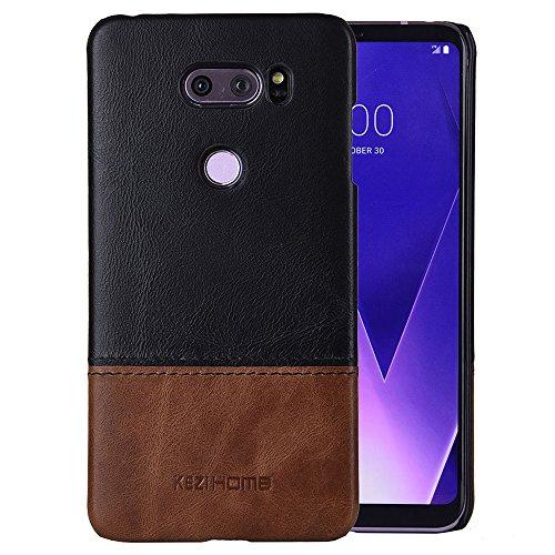 LG V30 Case,LG V35 Case,Two Colors Vintage Genuine Leather Back Cover for LG V30, LG V30S,LG V30 Plus,LG V30 ThinQ,LG V35,LG V35 ThinQ Cases (Black) by KEZiHOME