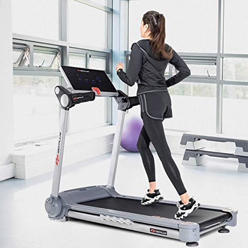Goplus 2.05HP Folding Electric Treadmill Portable Jogging Running Fitness Machine Heavy Duty Incline Treadmill with LCD Display and Shock-Absorption System for Home and Gym