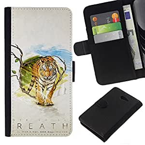 NEECELL GIFT forCITY // Billetera de cuero Caso Cubierta de protección Carcasa / Leather Wallet Case for Sony Xperia M2 // Tiger Aliento