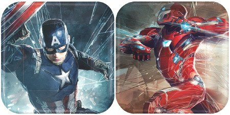 7 Plates Square Dessert (Captain America 3 Civil War Party 7 inch Square Dessert Plates (8 count))