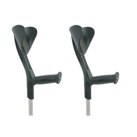 Muletas 2 uds negras | Aluminio regulables en altura | Pack ahorro
