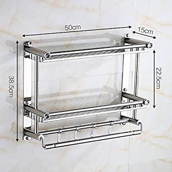 LHbox Tap Bad Handtuchhalter Badezimmer Handtuchhalter Edelstahl Bad  Regale, 50 cm Stahlplatte