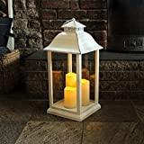 Dusk Till Dawn SLCANDLE9W Battery Operated Medium Candle Lantern, Transparent, 27.5 x 56 x 27.5 cm