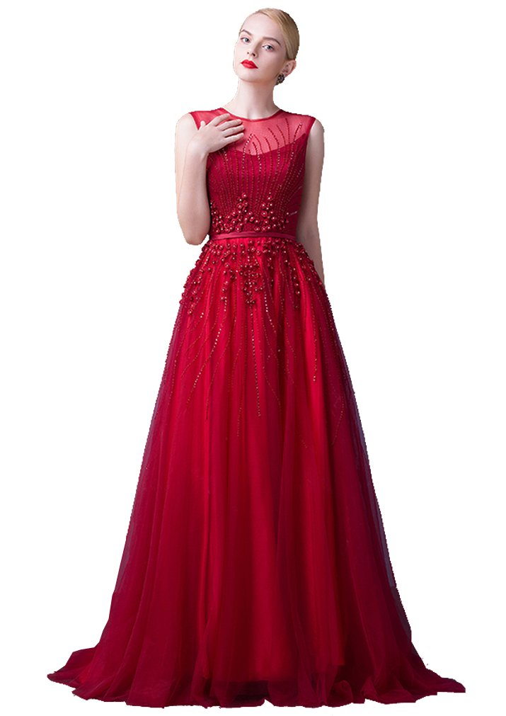 Beauty-Emily A-Line Maxi O Neck Sash Rose Applique Sleeveless See-Through Beading Corporate Prom Gowns Evening Dresses vestido Color Wine Red,Size 04