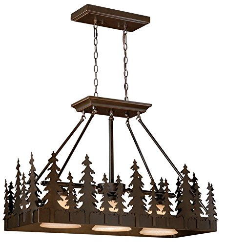 Vaxcel USA PD55536BBZ Yosemite 3 Light Rustic Island Pendant Lighting Fixture in Bronze, Glass by Vaxcel
