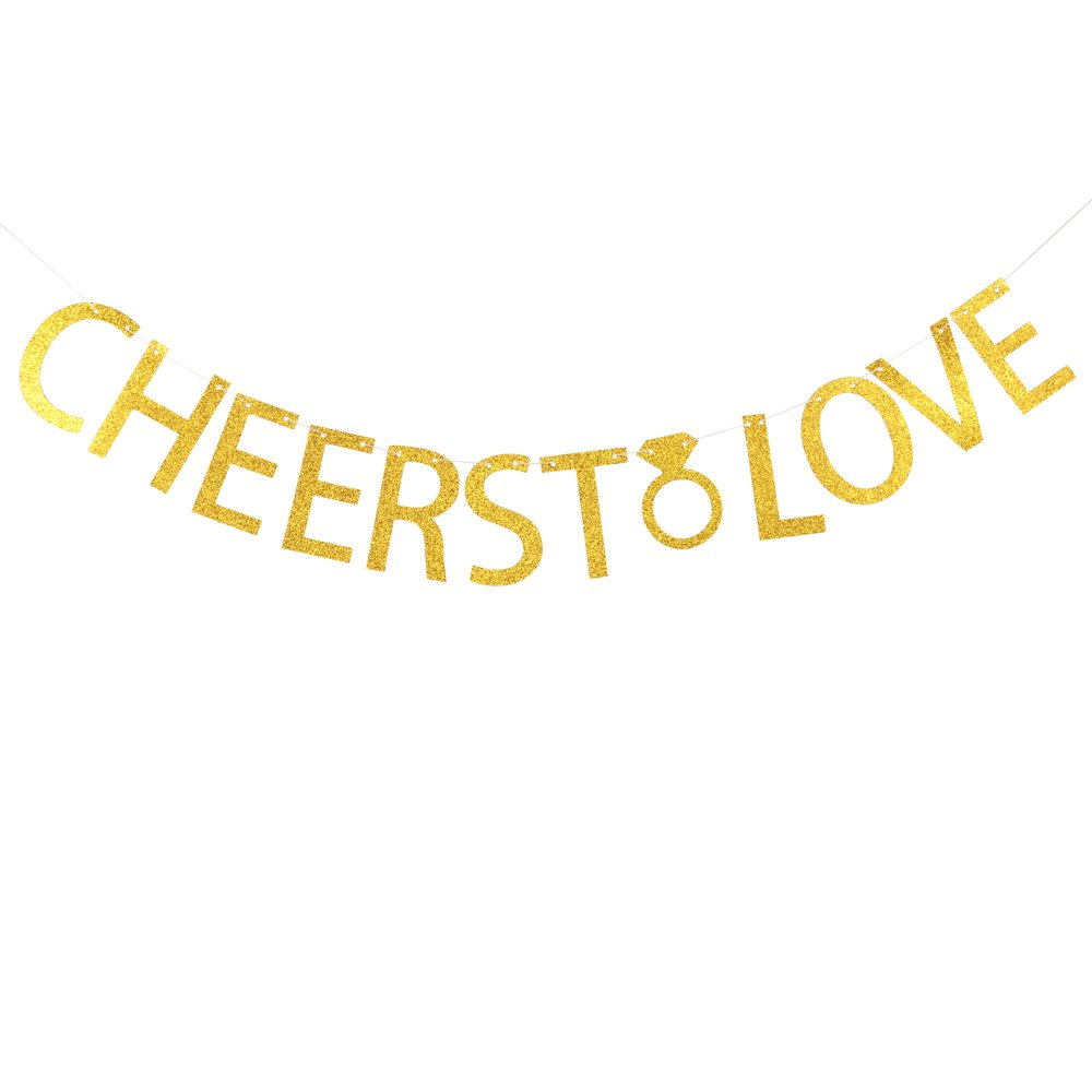 Cheers to love banner gold glitter banner for birthday ,engagement party decoration