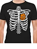 Halloween Skeleton Rib Cage Xray Pumpkin Jack O' Lantern Heart Easy Costume T-Shirt Large Black