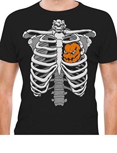 Halloween Skeleton Rib Cage Xray Pumpkin Jack O' Lantern Heart Easy Costume T-Shirt X-Large -