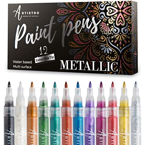 - Metallic Paint Pens for Rock Painting, Stone, Ceramic, Glass, Wood, Fabric, Scrapbook Journals, Photo Albums, Card Stocks Set of 12 Acrylic Paint Markers Extra-Fine Tip 0.7mm