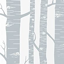 """Whitelotouse Decorative Frosted Window Film Privacy Film for Home Bathroom Living Room 17.71 x 78.74"""" (Tree Trunk Gray)"""