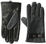 Ike Behar Men's Leather Wool Touchscreen Gloves, Charcoal/Black, Medium
