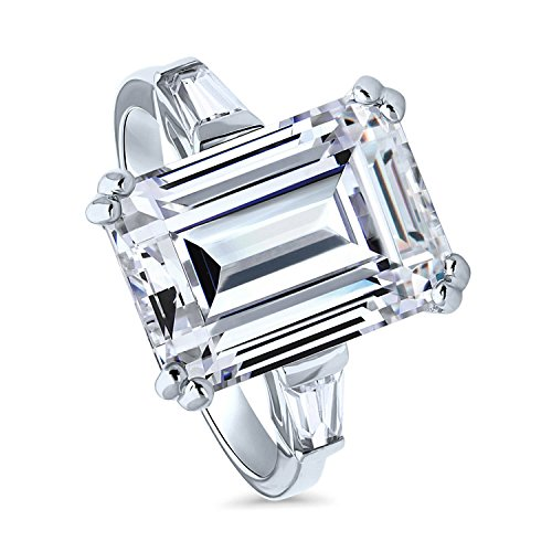 BERRICLE Rhodium Plated Sterling Silver Emerald Cut Cubic Zirconia CZ Statement Solitaire Engagement Ring 8.72 CTW Size 10