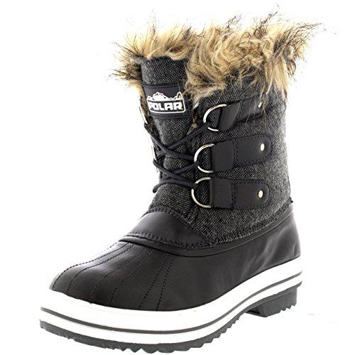Womens Fur Cuff Lace Up Rubber Sole Short Winter Snow Rain Shoe Boots - 8 - GRT39 YC0090