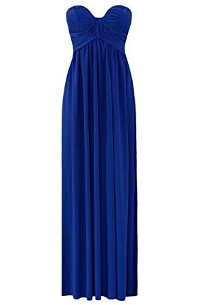 Blossoms Long Grecian Strapless Evening Party Prom Maxi Gown Dress With Detachable Straps - Uk Size