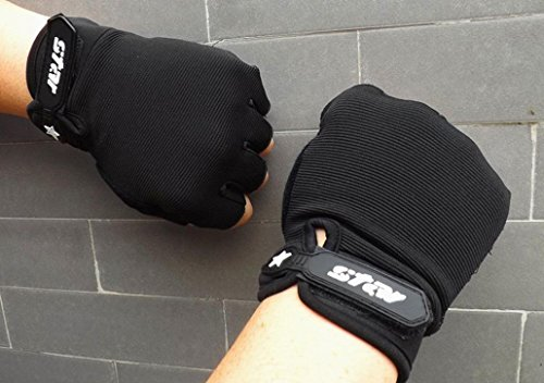 Sacow Men Antiskid Cycling Bike Gym Fitness Sports Half Finger Gloves (black, XL) by Sacow (Image #3)