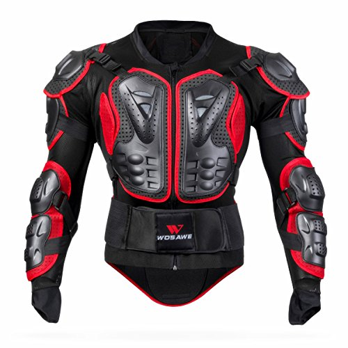 WOSAWE BMX Body Armor Mountain Bike Body Protection Long Sleeve Armored Motorcycle Jacket, Red XX-Large