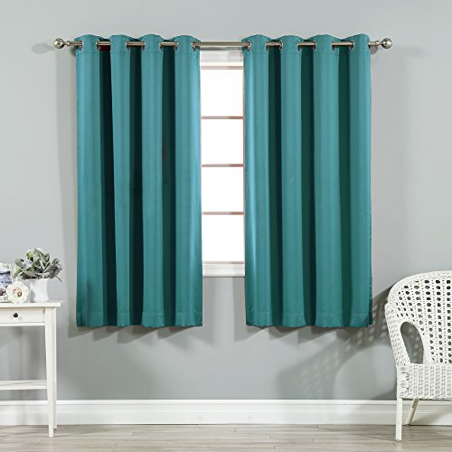 Best Home Fashion Thermal Insulated Blackout Curtains - Stainless Steel Nickel Grommet Top - Teal - 52