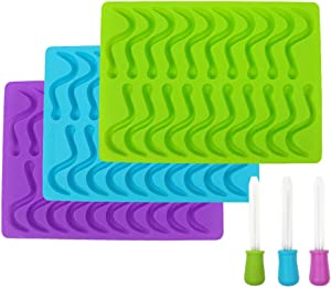 Gummy Worm Silicone Mold 3pcs 20 Cavity Each with 3 Matching Droppers for Jelly Chocolate Soap Cake Wax Purple Blue and Green by X-Value
