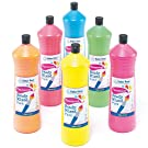 Baker Ross Fluorescent Ready Mixed Paint for Children to Paint and Decorate (Pack of 6) - Blue, Red, Green, Orange, Yellow and Pink