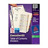Avery Executive Rdy Index Table/Content Dividers, 15-Tab, 1-15, Letter Size, Assorted, 15 per Set (11279)