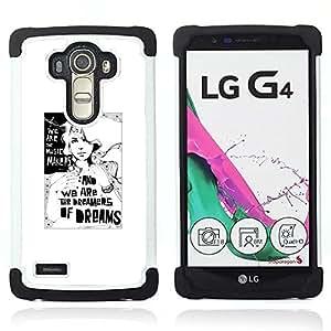 For LG G4 H815 H810 F500L - dreams dreamer poster white black minimalist Dual Layer caso de Shell HUELGA Impacto pata de cabra con im??genes gr??ficas Steam - Funny Shop -