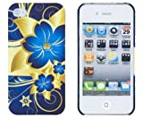 Blue Flower Embossed Hard Case for Apple iPhone 4, 4S (AT&T, Verizon, Sprint) - Includes DandyCase Keychain Screen Cleaner [Retail Packaging by DandyCase]