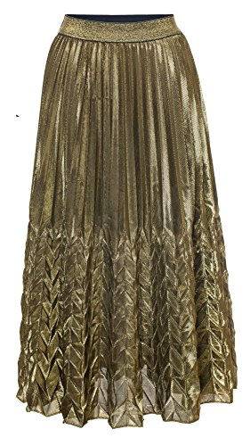 Chartou Womens Glitter Metallic Chevron Pattern Gold & Silver Mid-Long Accordion Pleated Skirts