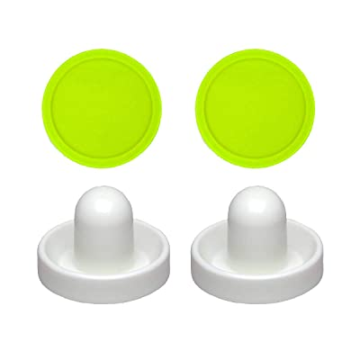 2 Commercial Hockey Fluorescent White Goalies with 2 Large Green Air Pucks : Sports & Outdoors