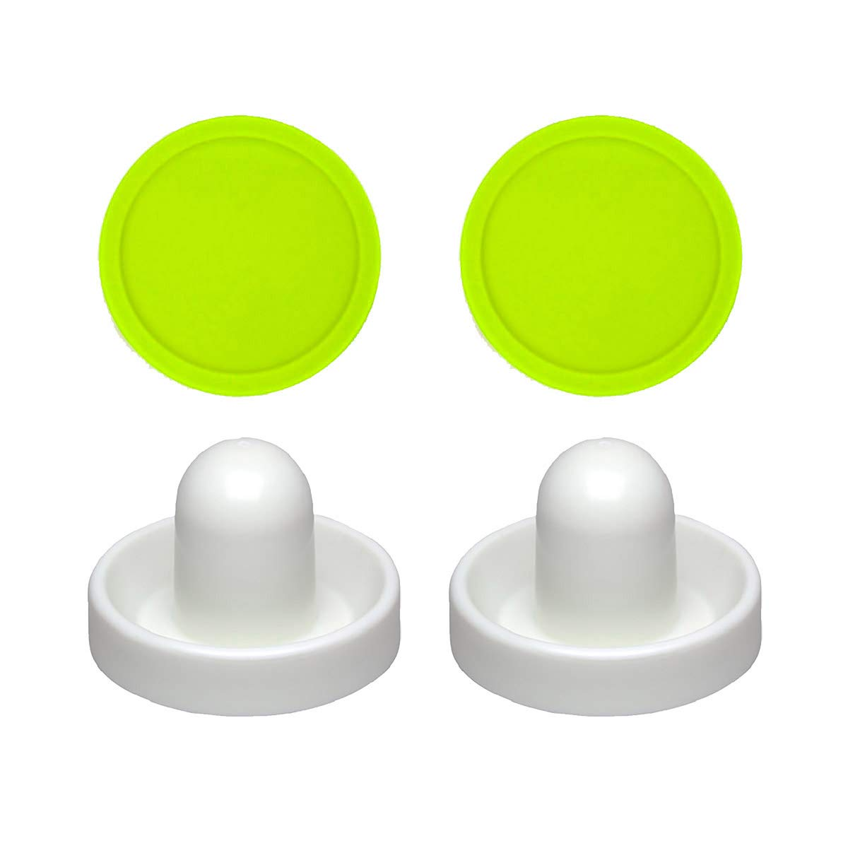 2 Commercial Hockey Fluorescent White Goalies with 2 Large Green Air Pucks by Suzo Happ