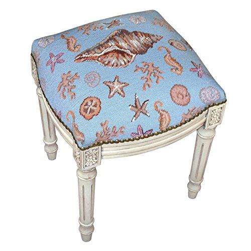 (Kensington Row Coastal Collection Stools - Newport Beach Seashells Needlepoint Stool - Vanity Seat - Upholstered Stool - Accent Furniture)