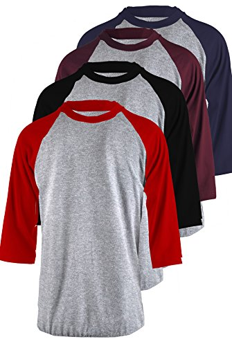 - TOP LEGGING TL Men's 4 Pack 3/4 Sleeve Baseball Cotton Crew Neck Jersey Raglan Tee Shirts S to 3XL - 2XL