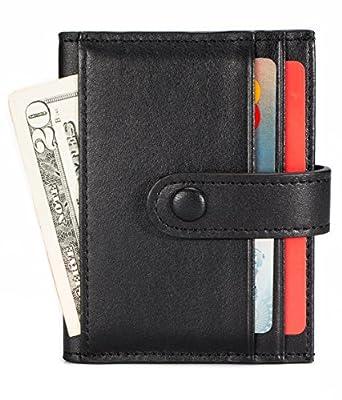 Leather Credit Card Holder 16 Slots Bifold Front Pocket Wallet RFID Blocking